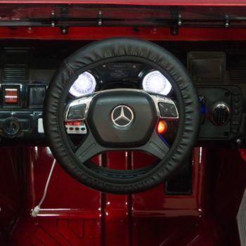 Электромобиль Mercedes-Benz G63 AMG черный глянец (АКБ 12v 10ah, колеса резина, сиденье кожа, пульт, музыка)