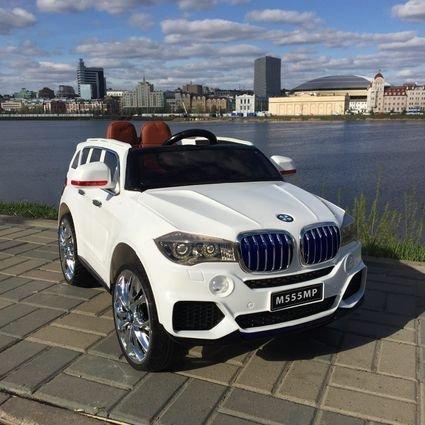 Электромобиль BMW X5 F15 (резиновые колеса, кожа, пульт, музыка, усиленный аккумулятор, ГЛЯНЦЕВАЯ ПОКРАСКА)