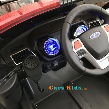 Электромобиль Ford Police черный (полицейский, колеса резина, сиденье кожа, пульт, музыка, рация)